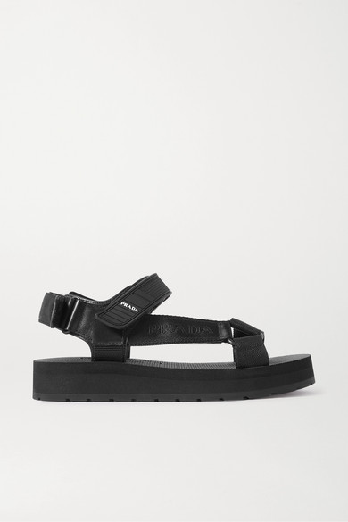 PRADA   Prada - Nomad Logo-print Rubber And Leather-trimmed Canvas Sandals - Black   Clouty