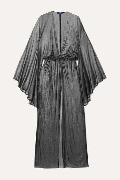 Elena Makri   Elena Makri - Nemesis Pleated Metallic Silk-tulle Robe - Silver   Clouty