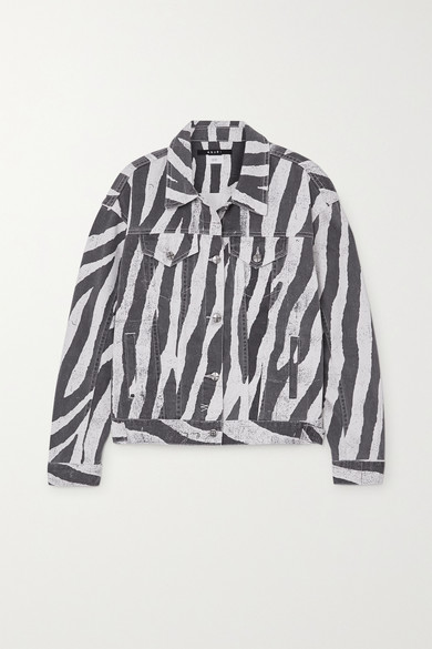Ksubi | Ksubi - Static Oversized Zebra-print Denim Jacket - Black | Clouty