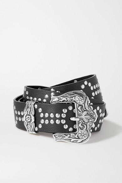 Black & Brown | Black & Brown - Lara Studded Textured-leather Belt | Clouty