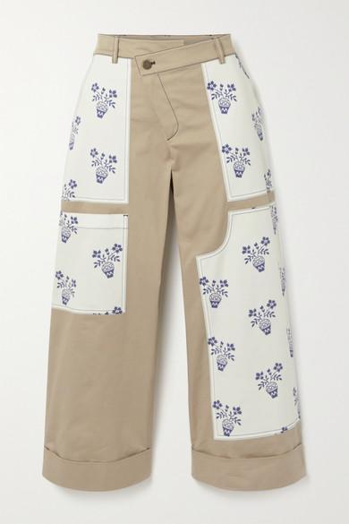 Monse   Monse - Flower Pot Cropped Patchwork Cotton-blend Twill Wide-leg Pants - Beige   Clouty