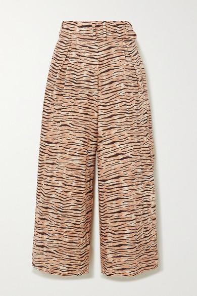 Faithfull The Brand   Faithfull The Brand - Lena Tiger-print Linen Wide-leg Pants - Taupe   Clouty