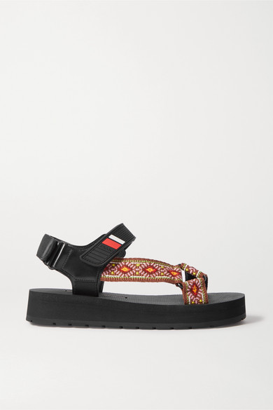 PRADA | Prada - Nomad Logo-embossed Rubber And Leather-trimmed Canvas Sandals - Tan | Clouty