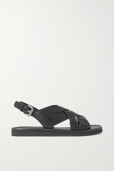 PRADA   Prada - Leather Slingback Sandals - Black   Clouty