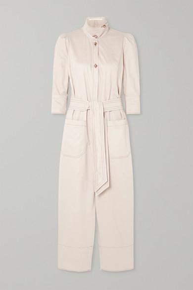 Anna Mason | Anna Mason - Romy Belted Cotton Jumpsuit - Beige | Clouty