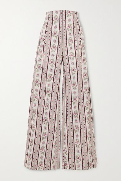 Anna Mason | Anna Mason - Beau Floral-print Cotton Wide-leg Pants - Gray | Clouty