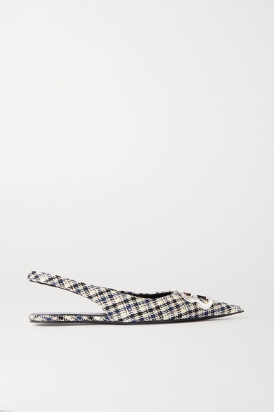 Balenciaga | Balenciaga - Knife Logo-embellished Checked Wool Slingback Point-toe Flats - Navy | Clouty