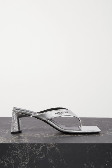 Balenciaga | Balenciaga - Logo-print Metallic Textured-leather Mules - Silver | Clouty