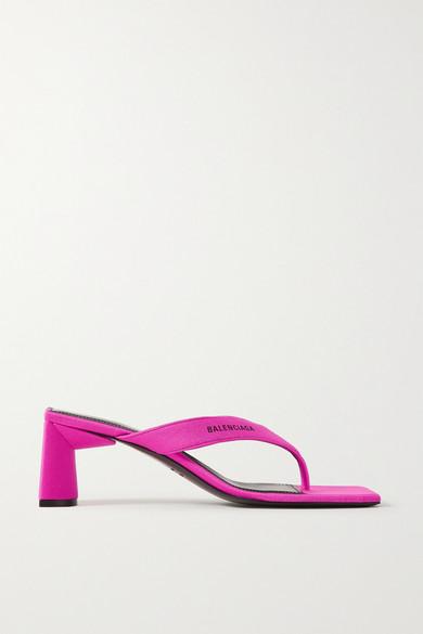 Balenciaga | Balenciaga - Neon Logo-printed Jersey Sandals - Fuchsia | Clouty
