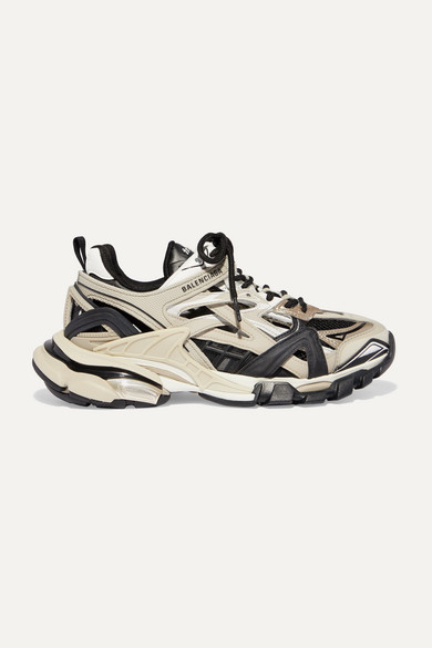 Balenciaga | Balenciaga - Track 2 Logo-detailed Metallic Mesh And Rubber Sneakers - Beige | Clouty