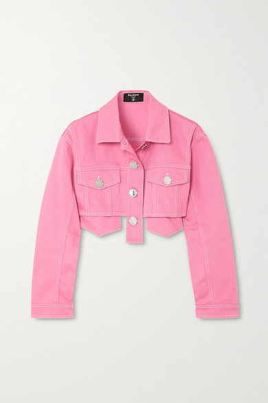 BALMAIN | Balmain - Cropped Denim Jacket - Pink | Clouty