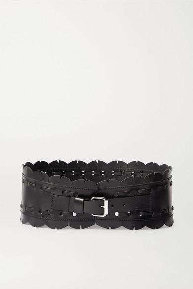 Isabel Marant | Isabel Marant - Tendy Topstitched Leather Waist Belt - Black | Clouty