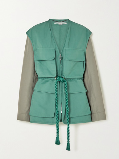 Stella McCartney   Stella McCartney - + Net Sustain Ania Belted Two-tone Brushed Twill-jacket - Turquoise   Clouty