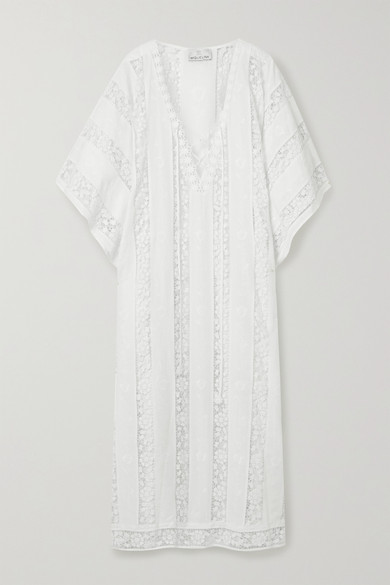 Miguelina | Miguelina - Blair Crochet-trimmed Embroidered Cotton-voile Kaftan - White | Clouty