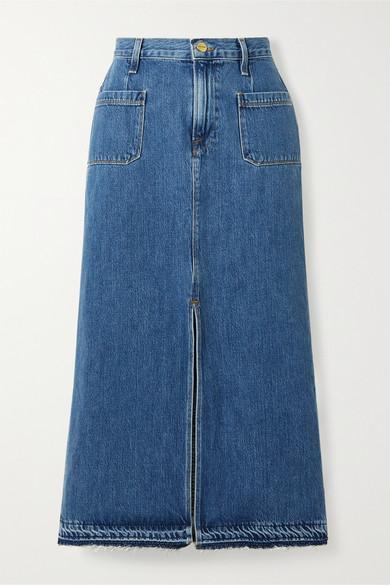 Frame   FRAME - Le Bardot Frayed Denim Midi Skirt - Mid denim   Clouty