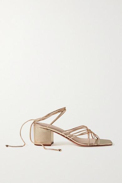 Porte & Paire   Porte & Paire - Woven Metallic Leather Sandals - Gold   Clouty