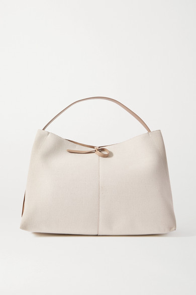 Wandler | Wandler - Ava Large Leather-trimmed Canvas Tote - White | Clouty
