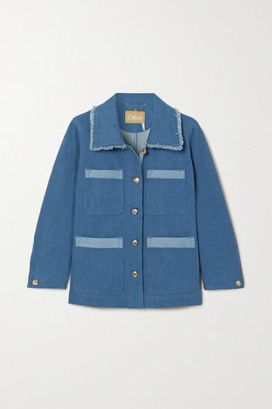 Chloé   Chloe - Frayed Two-tone Denim Jacket - Blue   Clouty