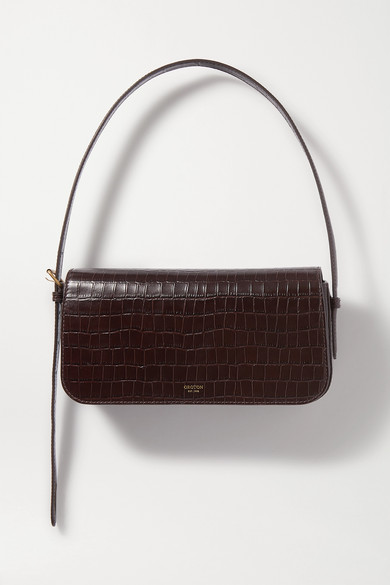 Oroton | Oroton - Muse Croc-effect Leather Shoulder Bag - Dark brown | Clouty