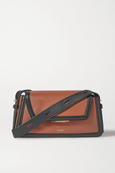 Oroton | Oroton - Camille Two-tone Leather Shoulder Bag - Tan | Clouty