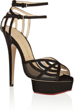 Фото Charlotte Olympia - Octavia Suede And Mesh Platform Sandals - Black