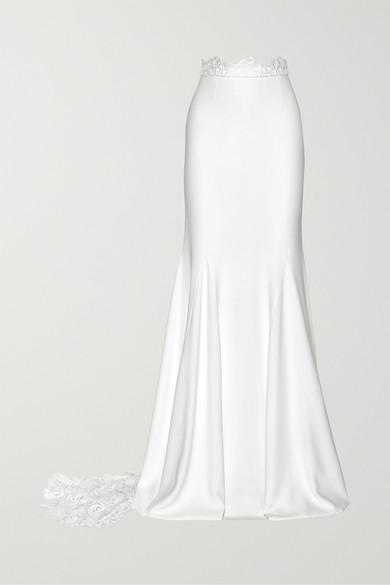Rime Arodaky | Rime Arodaky - Pennington Lace-paneled Crepe Maxi Skirt - White | Clouty