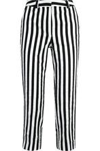 Фото Topshop Unique - Harleyford Striped Cotton-blend Slim-leg Pants - Black