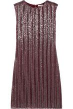 Фото GANNI - Humphrey Beaded Georgette Mini Dress - Claret