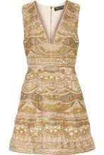 Фото Alice + Olivia - Patty Embellished Silk-chiffon Mini Dress - Gold