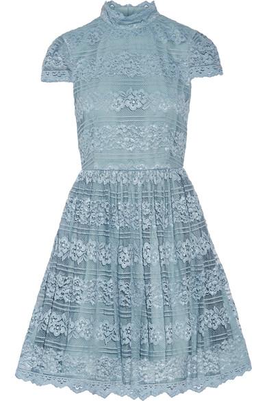 Alice + Olivia | Alice + Olivia - Maureen Lace Mini Dress - Light blue | Clouty