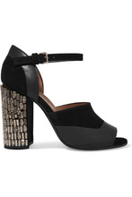 Фото Marni - Embellished Suede And Leather Sandals - Black