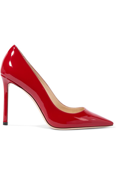 Jimmy Choo   Jimmy Choo - Romy 100 Patent-leather Pumps - Red   Clouty