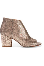 Фото Maison Margiela - Metallic Snake-effect Leather Ankle Boots - Gold