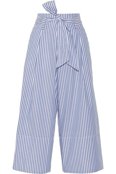 By Malene Birger | By Malene Birger - Bennih Cropped Striped Cotton-poplin Wide-leg Pants - Blue | Clouty