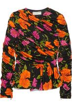 Фото Balenciaga - Floral-print Stretch-satin Peplum Top - Black