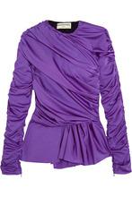 Фото Balenciaga - Gathered Satin-jersey Peplum Top - Purple