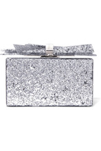 Фото Edie Parker - Wolf Glittered Acrylic Box Clutch - Silver