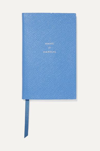 Smythson | Smythson - Panama Make It Happen Textured-leather Notebook - Sky blue | Clouty