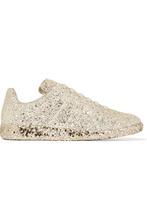Фото Maison Margiela - Glittered Leather Sneakers - Gold