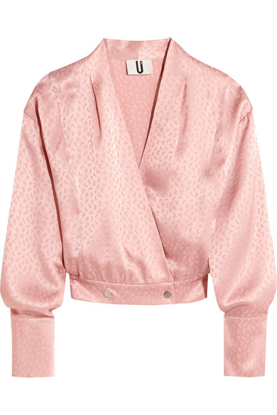 TOPSHOP Unique   Topshop Unique - Silk-jacquard Wrap Blouse - Pastel pink   Clouty