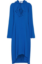 Фото Balenciaga - Ruffle-trimmed Georgette Dress - Bright blue