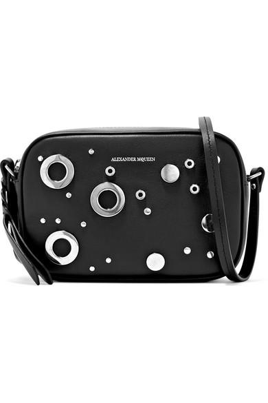 Alexander McQueen   Alexander McQueen - Embellished Leather Camera Bag - Black   Clouty