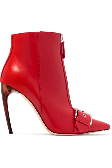 Alexander McQueen | Alexander McQueen - Buckled Leather Ankle Boots - Red | Clouty