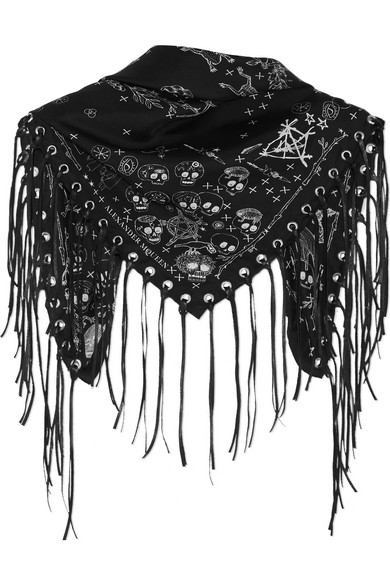 Alexander McQueen   Alexander McQueen - Leather-trimmed Printed Silk-twill Scarf - Black   Clouty
