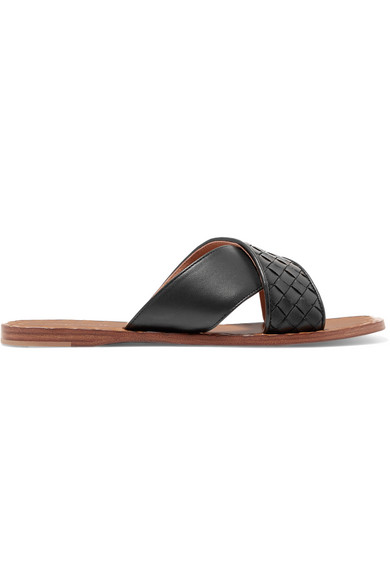 Bottega Veneta | Bottega Veneta - Intrecciato Leather Slides - Black | Clouty