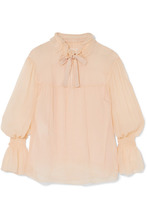 See By Chloe - Shirred Plisse Silk-georgette Blouse - Neutral