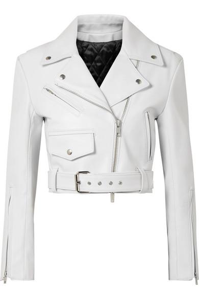 Calvin Klein   CALVIN KLEIN 205W39NYC - Cropped Leather Biker Jacket - White   Clouty