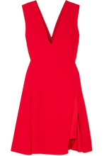 Versace - Pleated Cady And Satin Mini Dress - Red