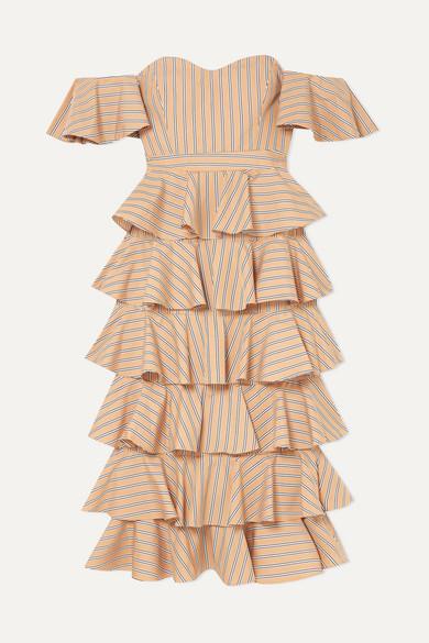 Caroline Constas | Caroline Constas - Irene Off-the-shoulder Ruffled Striped Cotton Dress - Tan | Clouty