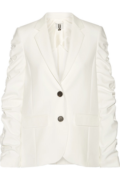 TOPSHOP Unique | Topshop Unique - Culpeper Ruched Stretch-crepe Blazer - White | Clouty